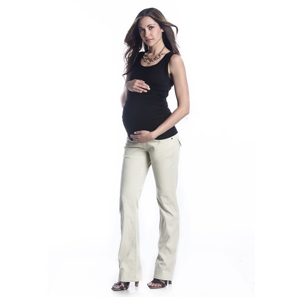 Lilac Clothing Women's Maternity Khaki Flap-pocket Panel Pants
