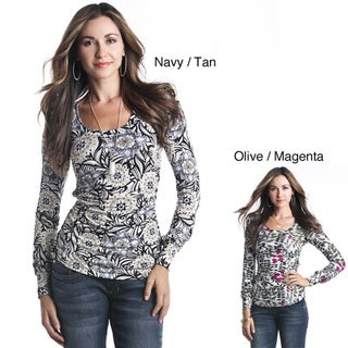 Lilac Clothing Women's Maternity Floral Ruched Long-sleeve Tee