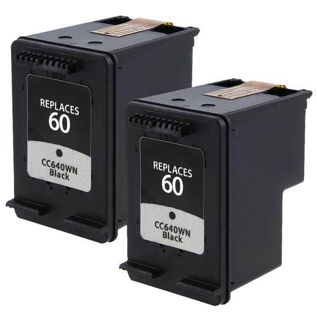 Insten HP 60/ CC640WN Black Ink Cartridge (Pack of 2)