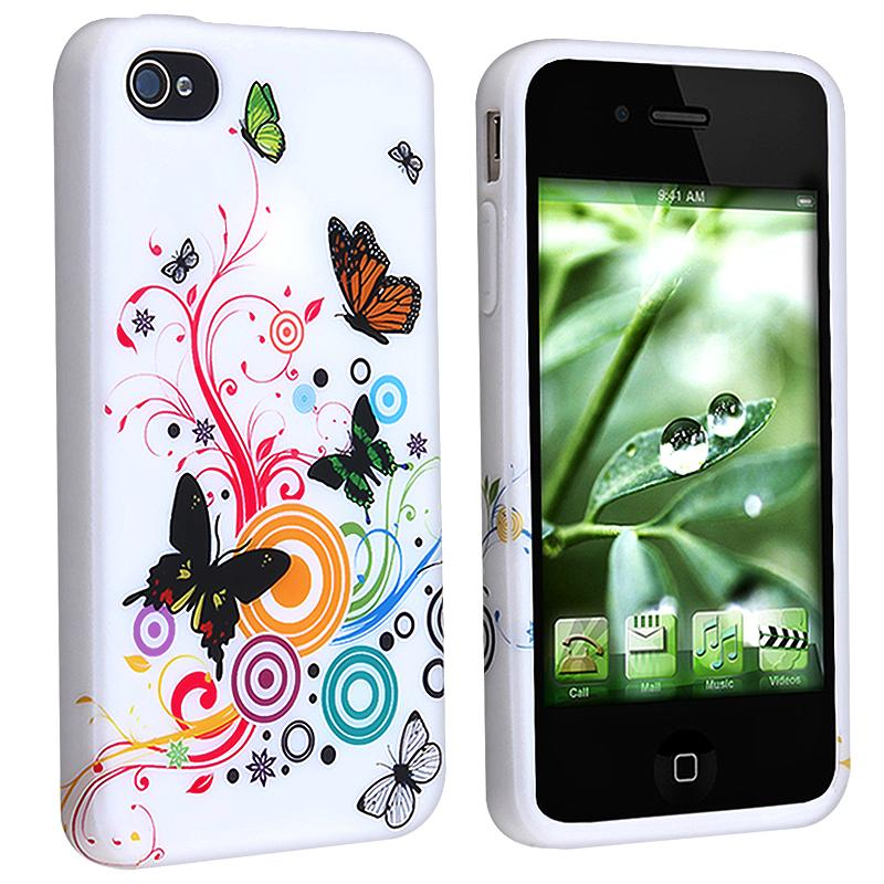 INSTEN Premium White Flower/ Butterfly TPU Phone Case Cover for Apple iPhone 4