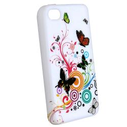 INSTEN Premium White Flower/ Butterfly TPU Phone Case Cover for Apple iPhone 4 - Thumbnail 1