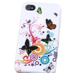 INSTEN Premium White Flower/ Butterfly TPU Phone Case Cover for Apple iPhone 4 - Thumbnail 2