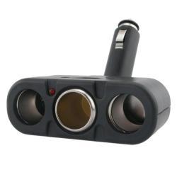 Three-way Black Car Cigarette Lighter Socket Splitter