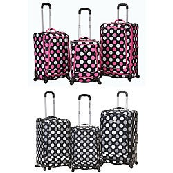 Rockland Deluxe Polka Dot 3-piece Spinner Luggage Set