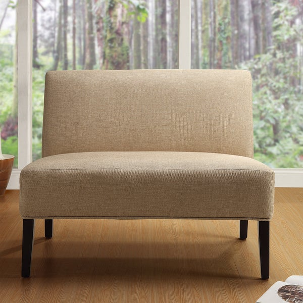 Easton Beige Linen Fabric 2-seater Accent Loveseat by TRIBECCA HOME
