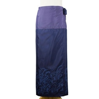 Handmade Silk and Cotton 'Blue Rice Field' Sarong (Thailand)