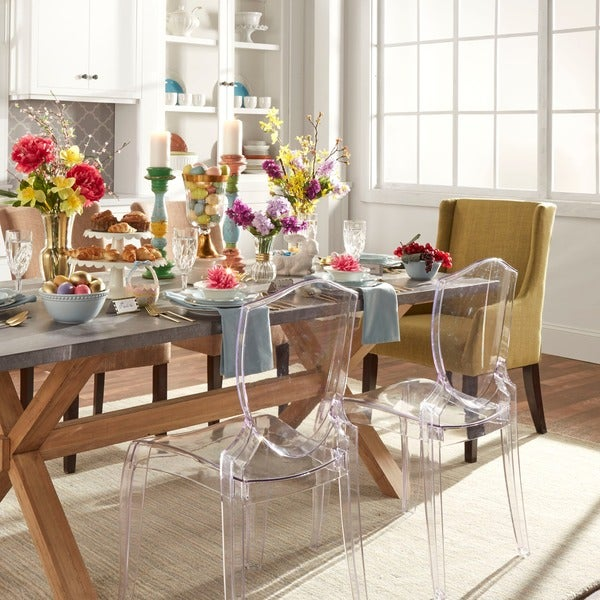 Ghost Chair Armless INSPIRE Q Canali Sleek Modern Accent Chair (Set of 2 ...