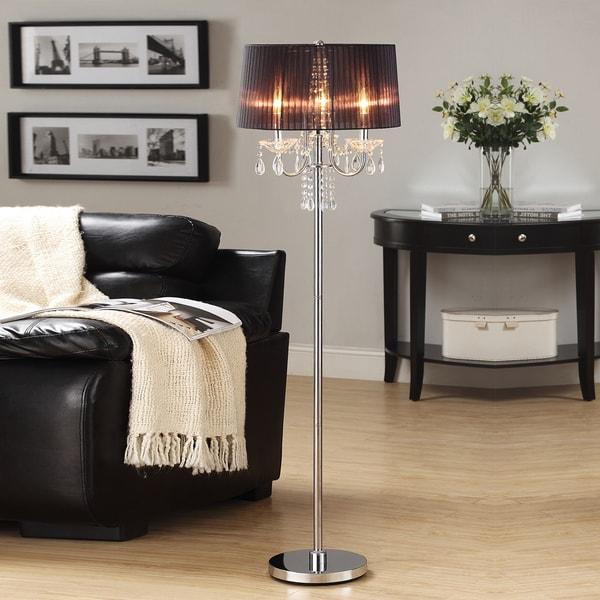 TRIBECCA HOME Noble 3-light Chrome Crystal Silk Shade Floor Lamp