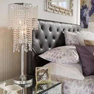 INSPIRE Q Crystal Rain 3-light Chrome Crystal Table Lamp