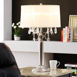 TRIBECCA HOME Silver Mist 3-light Crystal Chrome Table Lamp