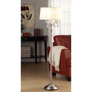 Silver mist 1 light crystal chrome floor lamp by inspire q for Overstock silver floor lamp