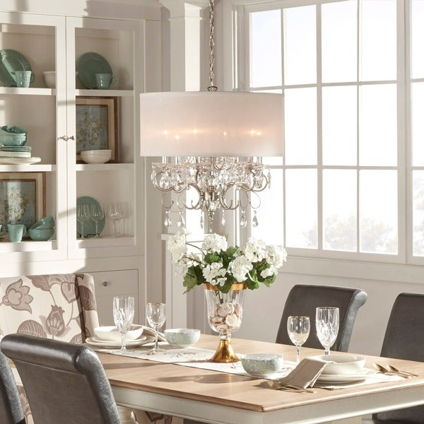 Hanging A Chandelier | Shop Silver Mist Hanging Crystal Drum Shade Chandelier By Inspire Q