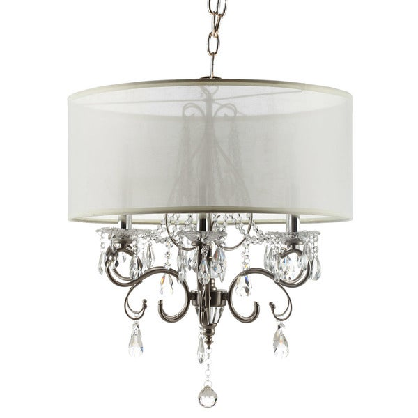 Silver Mist Hanging Crystal Drum Shade Chandelier by iNSPIRE Q ...