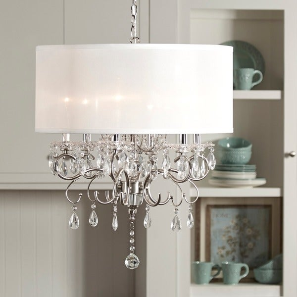 Silver Mist Hanging Crystal Drum Shade Chandelier By Inspire Q Clic Free Shipping Today 13689270