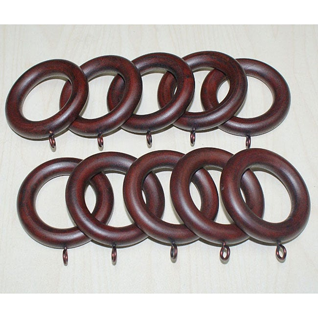Adeline Smooth Mahogany Wood Curtain Rings Set Of 10