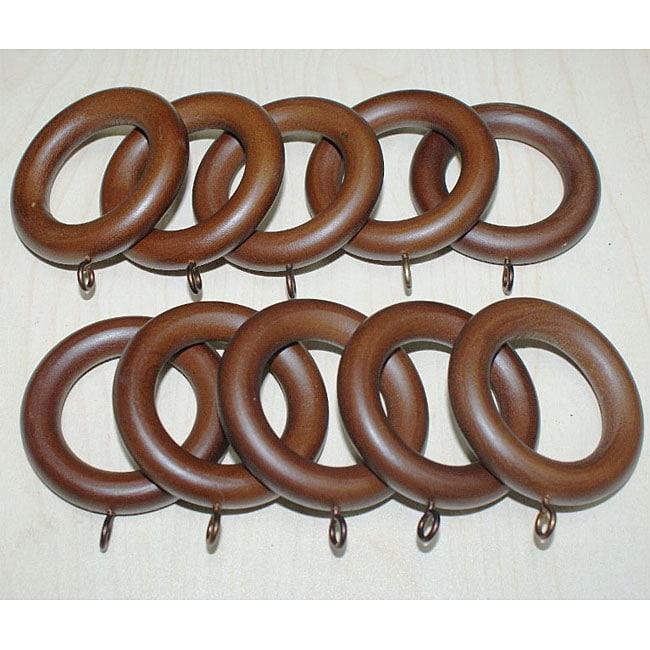 Adeline Smooth Walnut Wood Curtain Rings (Set of 10)
