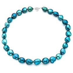 Pearlyta Sterling Silver Blue Baroque Pearl Necklace (13-14 mm)