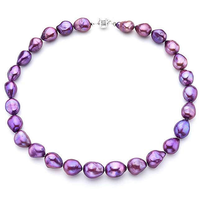 Pearlyta Sterling Silver Purple Baroque Pearl Necklace (13-14 mm)