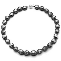 Pearlyta Sterling Silver Black Baroque Pearl Necklace (13-14 mm)