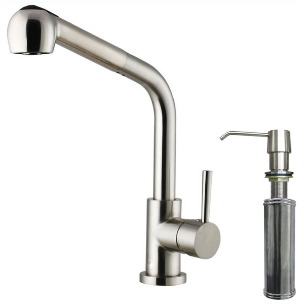 VIGO Avondale Stainless Steel Pull-Out Spray Kitchen Faucet with Soap Dispenser