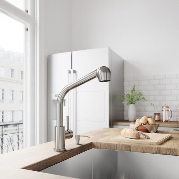 VIGO Avondale Stainless Steel Kitchen Faucet with Soap Dispenser