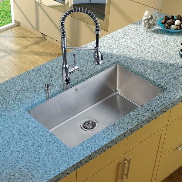 VIGO Chrome Lever Pull Down Faucet with Soap Dispenser