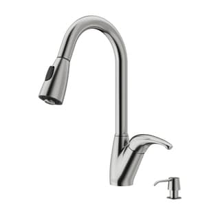VIGO Stainless Steel Pull-Out Spray Kitchen Faucet with Soap Dispenser