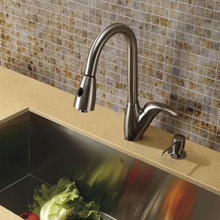 VIGO Romano Stainless Steel Pull-Down Spray Kitchen Faucet with Soap Dispenser
