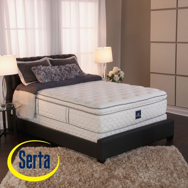 serta perfect sleeper ultra modern super pillow top cal king size mattress and box spring set. Black Bedroom Furniture Sets. Home Design Ideas