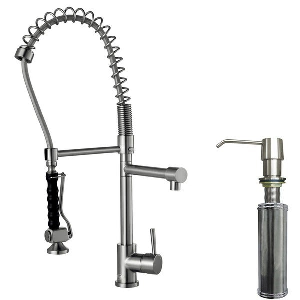 VIGO Zurich Stainless Steel Pull-Down Spray Kitchen Faucet with Soap Dispenser