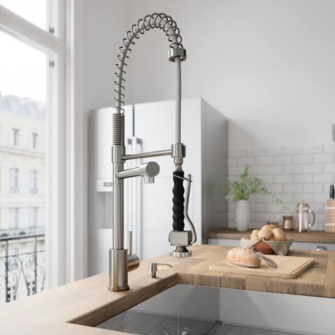 VIGO Zurich Stainless Steel Spray Kitchen Faucet with Soap Dispenser