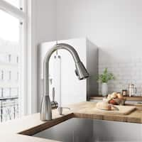 VIGO Graham Stainless Steel Kitchen Faucet with Soap Dispenser