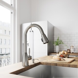 VIGO Graham Stainless Steel Pull-Down Spray Kitchen Faucet with Soap Dispenser