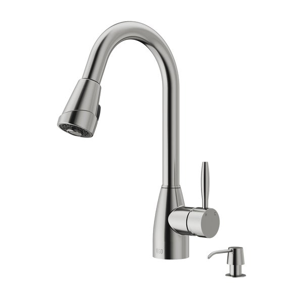 Vigo Stainless Steel Pull Down Spray Kitchen Faucet With Soap Dispenser