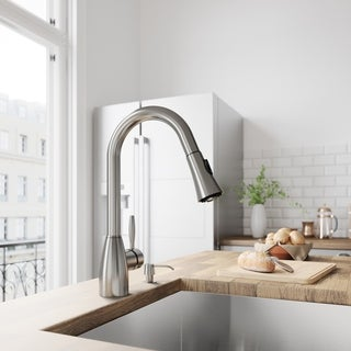 VIGO Aylesbury Stainless Steel Kitchen Faucet with Soap Dispenser
