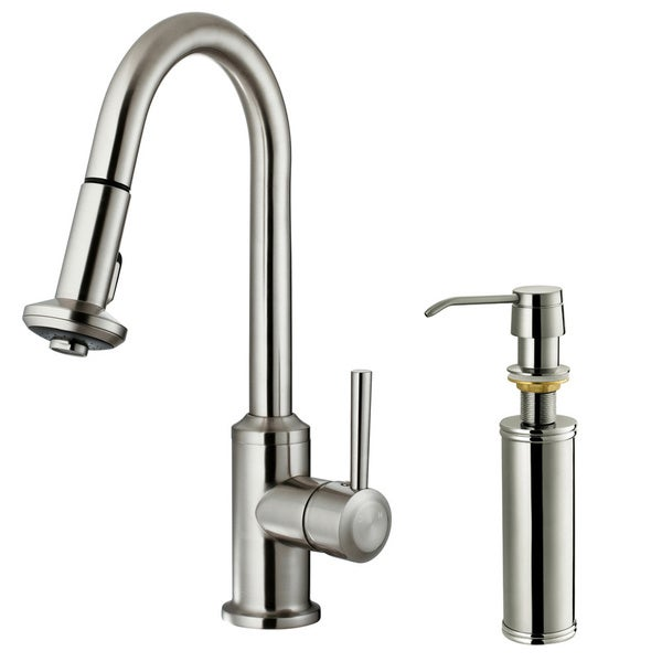 VIGO Astor Stainless Steel Pull-Down Spray Kitchen Faucet with Soap Dispenser