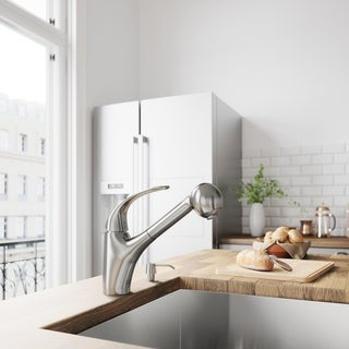 VIGO Alexander Stainless Steel Pull-Out Spray Kitchen Faucet with Soap Dispenser
