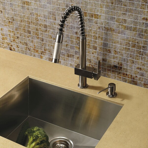 VIGO Lincroft Stainless Steel Pull-Down Kitchen Faucet with Soap Dispenser