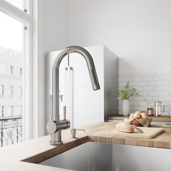 VIGO Gramercy Stainless Steel Kitchen Faucet with Soap Dispenser