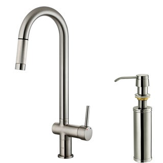 VIGO Stainless-Steel Single-Handle Pull-Out Kitchen Faucet with Soap Dispenser