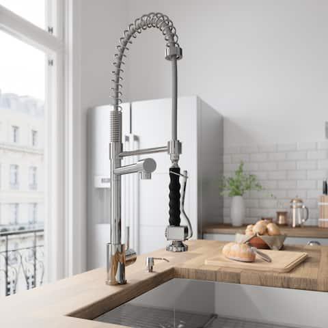 VIGO Zurich Chrome Pull-Down Spray Kitchen Faucet with Soap Dispenser