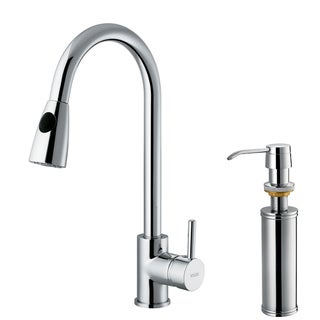 VIGO Weston Chrome Pull-Down Spray Kitchen Faucet with Soap Dispenser