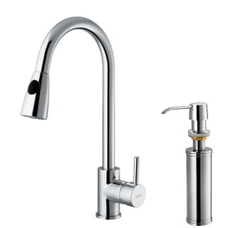 VIGO Chrome Pullout Spray Counter-Mount Kitchen Faucet with Soap Dispenser