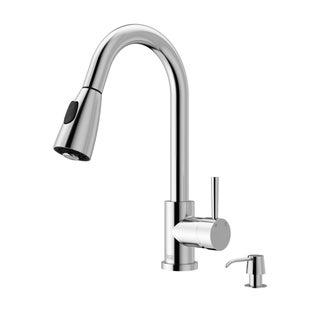 VIGO Weston Chrome Pull-Down Spray Kitchen Faucet with Soap Dispenser
