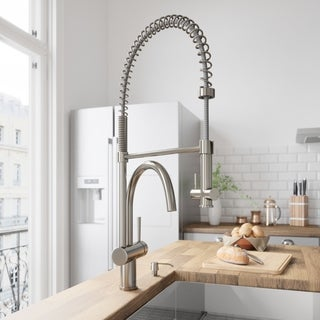 VIGO Dresden Stainless Steel Pull-Down Spray Kitchen Faucet with Soap Dispenser