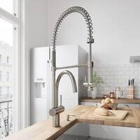 VIGO Dresden Stainless Steel Pull-Down Spray Kitchen Faucet with Soap Dispenser