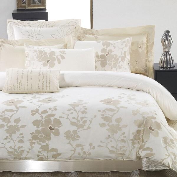 Jasmine Flower Embroidered King-size 3-piece Duvet Cover Set