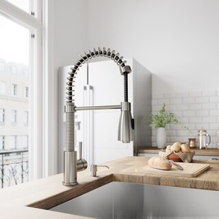 VIGO Brant Stainless Steel Pull-Down Spray Kitchen Faucet with Soap Dispenser