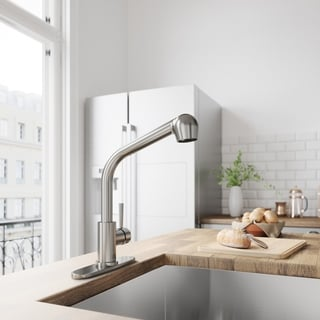 VIGO Avondale Stainless Steel Pull-Out Spray Kitchen Faucet with Deck Plate