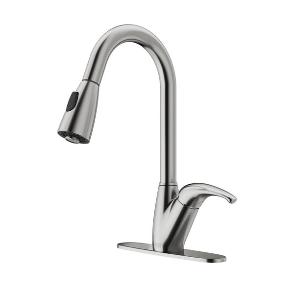 VIGO Romano Stainless Steel Pull-Down Spray Kitchen Faucet with Deck Plate